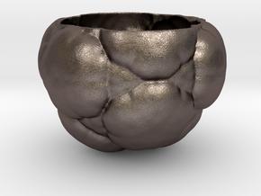 Fractal Flower Pot in Polished Bronzed Silver Steel