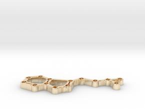 Di-Methyl-Tryptamine DMT Molecule Model in 14k Gold Plated Brass