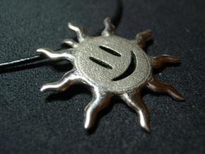 Smiling sun pendant in Polished Bronzed Silver Steel