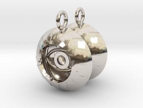 2x Vesica Eye Sacred Geometry Pendant in Rhodium Plated Brass