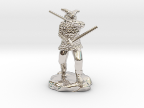 Dragonborn in Scale Mail With Swords and Bow  in Rhodium Plated Brass