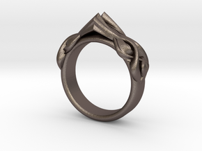 Designer RING 6 in Polished Bronzed-Silver Steel: 9 / 59
