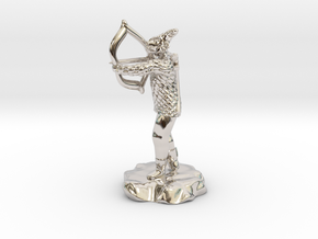 Dragonborn Fighter in Scale With Bow drawn in Rhodium Plated Brass