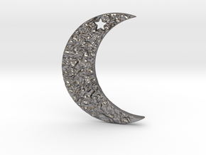 Crescent Moon Pendant in Polished Nickel Steel
