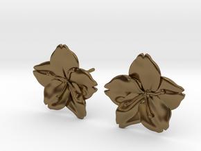 Sakura Stud Earrings in Polished Bronze