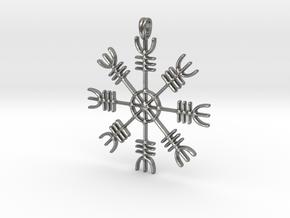 Aegishjalmur Icelandic Sign Viking Symbol Jewelry  in Natural Silver