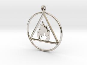 Ignis Alchemy symbol Fire Element Jewelry Pendant in Platinum