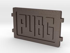 PUBG Dog Tag in Polished Bronzed Silver Steel