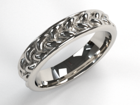 Braid Ring Thin in Fine Detail Polished Silver: 10 / 61.5