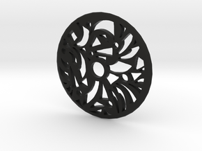 Drop Spindle Whorl--Geometric in Black Natural Versatile Plastic
