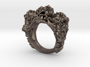 Skull Biker ring RS005000001 in Polished Bronzed Silver Steel: 6 / 51.5