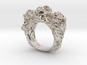 Skull Biker ring RS005000001 in Platinum: 6 / 51.5