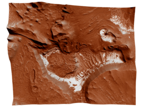 Mars Map: Light Outcrops in Red in Coated Full Color Sandstone