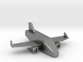 Low Poly 3D Airplane in Natural Silver: Medium