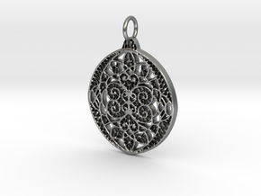 Christmas Holdiday Lace Ornament Pendant Charm in Natural Silver