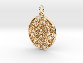 Christmas Holdiday Lace Ornament Pendant Charm in 14K Yellow Gold