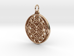 Christmas Holdiday Lace Ornament Pendant Charm in 14k Rose Gold Plated