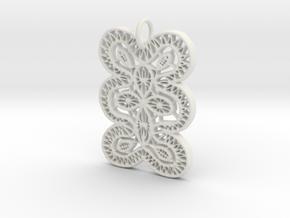 Lace Ornament Pendant Charm in White Natural Versatile Plastic
