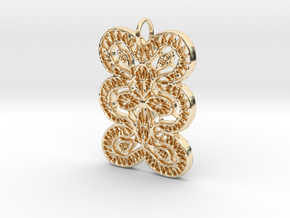Lace Ornament Pendant Charm in 14K Yellow Gold