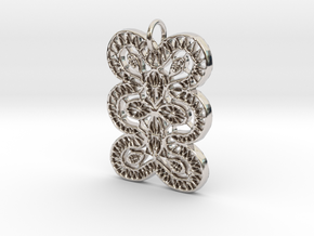 Lace Ornament Pendant Charm in Rhodium Plated Brass