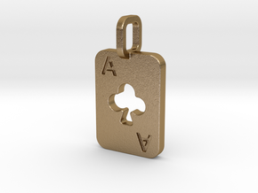 Ace of Clubs Card in Polished Gold Steel