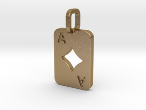 Ace of Diamonds Card in Polished Gold Steel