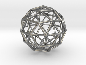 Icosahedron Pendant in Natural Silver