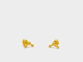 Water Molecule Stud Earrings in 18k Gold Plated Brass