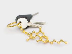 THC Molecule Keychain / Model in Polished Gold Steel