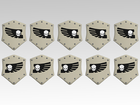 Skull & Feathered Wing Combat Shields x10 in Smooth Fine Detail Plastic