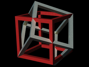 two cubes intersecting in Red Processed Versatile Plastic