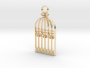 Vintage Birdcage Pendant Charm in 14K Yellow Gold