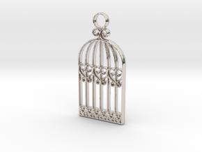 Vintage Birdcage Pendant Charm in Rhodium Plated Brass