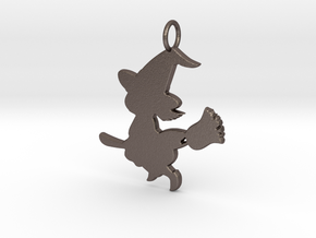 Cartoon Witch Cute Halloween Pendant Charm in Polished Bronzed Silver Steel