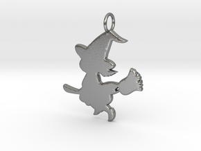 Cartoon Witch Cute Halloween Pendant Charm in Natural Silver