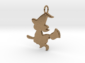 Cartoon Witch Cute Halloween Pendant Charm in Natural Brass