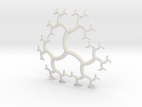 Curved Trivalent Tree Pendant in White Natural Versatile Plastic