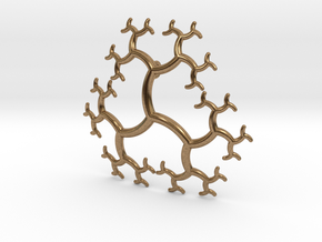 Curved Trivalent Tree Pendant in Natural Brass