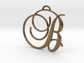 Elegant Script Monogram B Pendant Charm in Natural Bronze