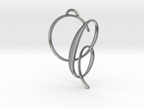 Elegant Script Monogram C Pendant Charm in Natural Silver