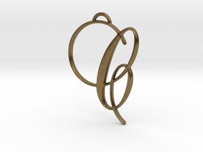 Elegant Script Monogram C Pendant Charm in Natural Bronze