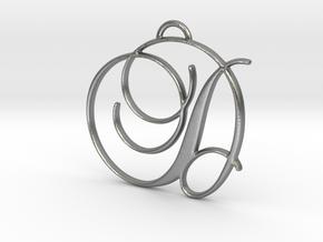 Elegant Script Monogram D Pendant Charm in Natural Silver