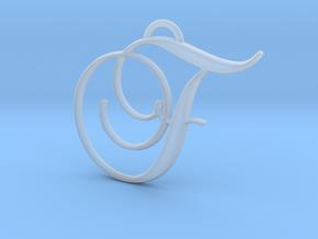 Elegant Script Monogram F Pendant Charm in Smooth Fine Detail Plastic