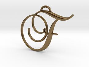Elegant Script Monogram F Pendant Charm in Natural Bronze