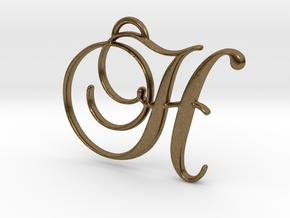 Elegant Script Monogram H Pendant Charm in Natural Bronze