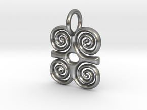 Adinkra-Strength Charms (individual) in Natural Silver