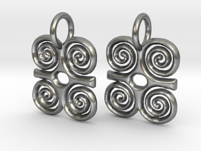 Adinkra-StrengthCharms (pair) in Natural Silver