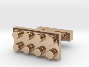 SCULP® Lego Sculpture Classic Cufflinks Rectangle in 14k Rose Gold Plated Brass