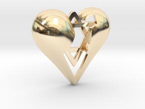 Israel in Heart Pendant in 14K Yellow Gold
