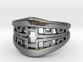 Korean Twin Ring in Fine Detail Polished Silver